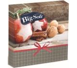 Big Soft Vánoční papírové ubrousky Jablíčka, skořice, ořechy 33 x 33 cm 2 vrstvé 20 kusů