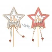 Hvězda dřevěná s jelenem, zápich 7 cm + špejle 1 kus