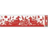 Okenné fólie bez lepidla pruh veľkonočné siluety červené 2 husi 45 x 12 cm