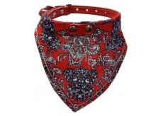 B & F Obojok kožený s bavlneným šatkou červeným 2,2 x 60 cm