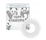 Invisibobble Original Circus Collection Pawesome originální vlasové gumičky čiré s bílým proužkem panda 3 kusy