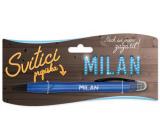 Nekupto Svietiace propiska s menom Milan, ovládač dotykových nástrojov 15 cm