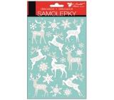Samolepky biele so striebornými glitrami jelene 25 x 14 cm