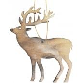 Dřevěný jelen závěsný 10 cm, pálená bílá