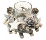 Svietnik z vetvičiek so skleneným kelímkom 13 cm