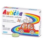Favea Autíčka pre pohodové cestovanie, pre potlačenie nevoľnosti, doplnok stravy sa sladidlami 10 žuvacích tabliet