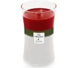 Woodwick Trilogy Winter Garland - Zimný girlanda vonná sviečka s dreveným knôtom a viečkom sklo veľká 609 g
