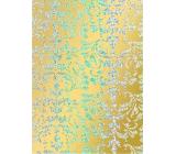 Ditipo Darčekový baliaci papier 70 x 150 cm Vianočné zlatý holografický strieborné ornamenty