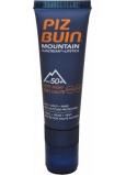 Piz Buin Mountain SPF50 slnečné krém 20 ml + SPF30 Lipstick tyčinka na pery 2,3 ml, duopack