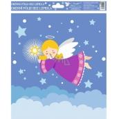 Room Decor Okenné fólie bez lepidla veselí anjelici farební 2. Fialový anjelik 29,5 x 24 cm
