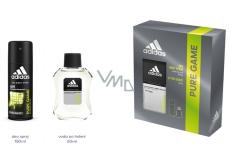 Adidas Pure Game voda po holení 100 ml + deodorant sprej pre mužov 150 ml, kozmetická sada