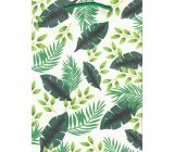 Ditipo Darčeková papierová taška strednej Kraft biela zelené listy 22 x 29 x 10 cm