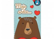Albi Hracie želanie s efektom Medveď so srdcom 14,8 x 21 cm