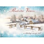 Nekupto Pohľadnica Radostné vianoce modrá, chalúpky