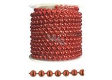 Řetízek červený plastový, dekorační 3 m