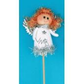 Zápich bílá figurka Anděl 8 cm + špejle