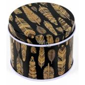 Albi Original Miniplechovka kulatá Černá se zlatými peříčky 6,3 x 5 cm