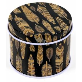 Albi Original Miniplechovka guľatá Čierna so zlatými pierkami 6,3 x 5 cm