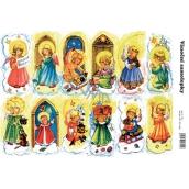 Arch Andílci Vánoční samolepky se zlatými glitry - perníkové samolepky 12 kusů 1 arch