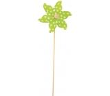 Veterník s veľkými bodkami zelený 9 cm + špajle 1 kus