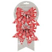 Mašle červená s norským vzorem 13 cm, 2 kusy