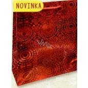 Nekupto Darčeková papierová taška malá 14 x 11 x 6,5 cm Červená hologramová 121 30 THS