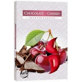 BISPOL Aura Chocolate Cherry - Čokoláda a čerešne vonné čajové sviečky 6 kusov