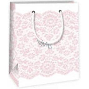 Ditipo Darčeková papierová taška 11,4 x 6,4 x 14,6 cm biela s ružovou čipkou
