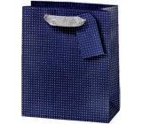 BSB Dárková papírová taška střední 23 x 19 x 9 cm Tmavě modrá s puntíky LDT 374-A5