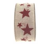 Ditipo Nordic stuha béžová červené hviezdy 2 mx 25 mm