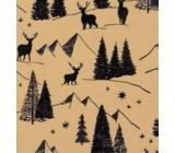Zöllner Vianočný Luxusné baliaci papier s razbou scanda zlatý - čierne stromy s jeleňmi 1,5 mx 70 cm