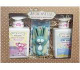Jack N Jill BIO Sweetness - Sladkosť 2v1 sprchový gél a šampón pre deti dávkovač 300 ml + Jack N Jill Sweetness - Sladkosť telové mlieko pre deti dávkovač 300 ml + Zajačik hračka do kúpeľa, kozmetická sada