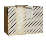Anjel Darčeková papierová taška krabica 23 x 16 x 11 cm uzatvárateľné, so zlatými prúžkami
