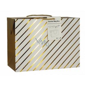 Darčeková papierová taška krabica 23 x 16 x 11 cm uzatvárateľné, so zlatými prúžkami