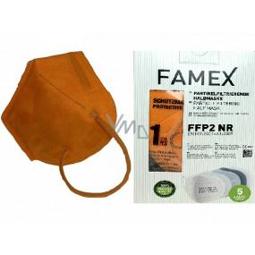 Famex Respirátor ústnej ochranný 5-vrstvový FFP2 tvárová maska oranžová 10 kusov