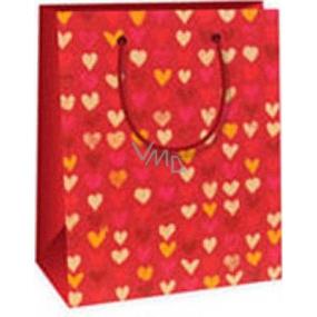 Ditipo Darčeková papierová taška 11,4 x 6,4 x 14,6 cm červená so srdiečkami
