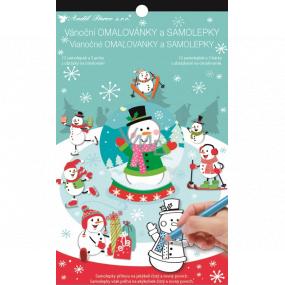 Samolepky a maľovanky vianočný Snehuliak 14 x 23 cm