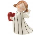 Anjel porcelánový so srdcom 10 cm na postavenie