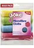 Söke Microfibre Cloths viacúčelová utierka z mikrovlákna 30 x 30 cm 4 kusy