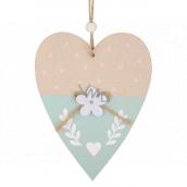 Srdiečko drevené ružové na zavesenie 14 cm