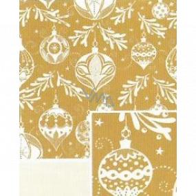 Nekupto Darčekový baliaci papier 70 x 500 cm Vianočné zlatý bielej banky