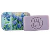 Bohemia Gifts & Cosmetics Modré kvety - Levanduľa ručne vyrábané toaletné mydlo s glycerínom v plechovej krabičke 80 g