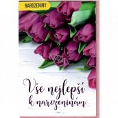 Nekupto Prianie k narodeninám Fialové tulipány 115 x 170 mm 3563 G