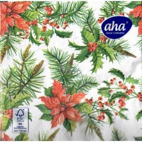 Aha Papierové obrúsky 3 vrstvové 33 x 33 cm 20 kusov Vianočná hviezda, vetvičky ihličia
