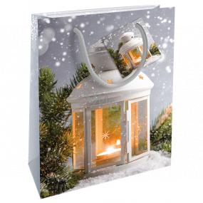 Nekupto Darčeková papierová taška 23 x 18 x 10 cm Vianočný strieborná lampáš WBM 1925 02