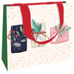 Nekupto Darčeková papierová taška luxusné 23 x 18 cm Vianočné darčeky WLFM 1991
