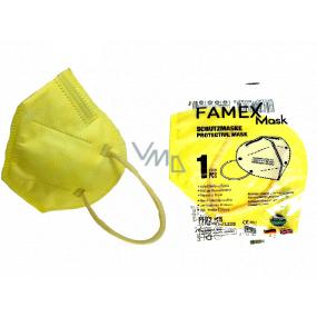 Famex Respirátor ústnej ochranný 5-vrstvový FFP2 tvárová maska žltá 1 kus