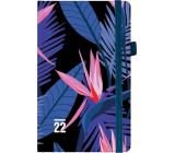 Albi Diár 2022 vreckový s gumičkou Tmavé kvetmi 15 x 9,5 x 1,3 cm