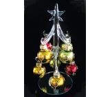 Stromek skleněný s barevnými ozdobami 15 cm