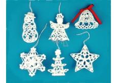 Háčkovaná sada snehuliak, anjel, zvonček, hviezda, stromček, vločka cca 8 cm